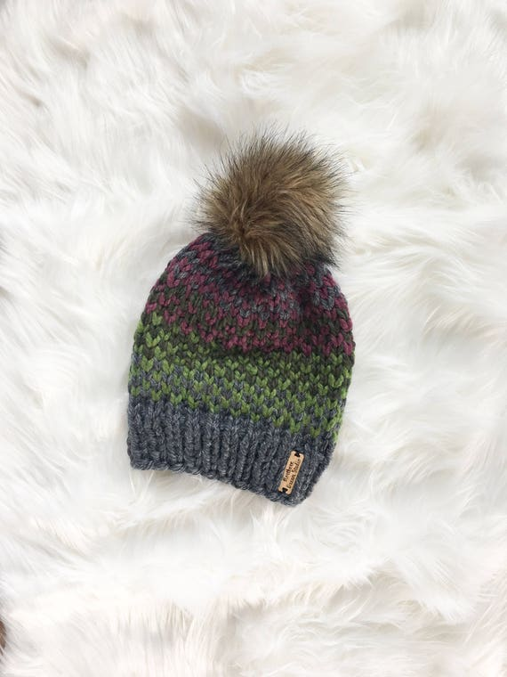 Gray Fair Isle Beanie / Knit Winter Hat / Light Green Dark