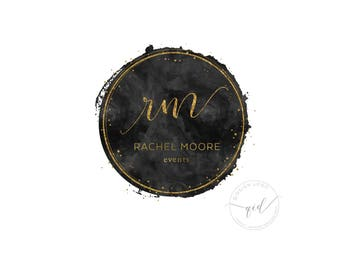 logo design black watercolor with gold circle logo and confetti for events and party business logo with watermark