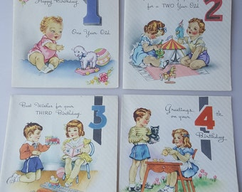 Vintage children's birthday cards ages 1 2 3 and 4 charming illustrations 1940s