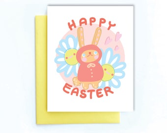 Cute Easter card | happy easter card | easter bunny card | Easter greeting card | cute easter bunny card | easter spring card | blank card