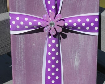 Purple Cross Painted Canvas Sign