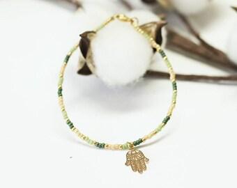 Green, Yellow & Gold Hamza Bracelet/Miyuki Seed Beads/Minimalist Bracelet/Boho Beads/Festival Jewelry/Stacking Bracelet/Friendship Bracelet