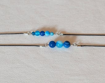 Stone Agate Beaded Choker, Blue Agate Necklace, Natural Stone Necklace