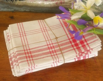 Old kitchen towels, dish towels checked cotton metis Tea towel kitchen towel