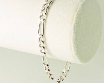 "Sterling Silver Figaro Bracelet 8"" x 6mm (10.5 grams)"