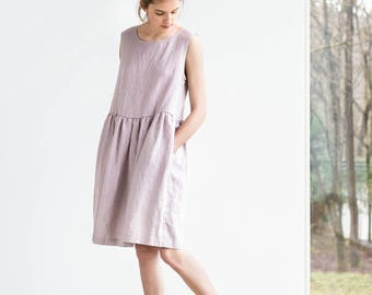 Smock linen dress / Loose linen sleeveless summer dress in ashes of rose / Washed linen dress