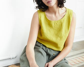 Linen tank top VIENNA / Round neck washed linen blouse /linen tank top available in 34 colors