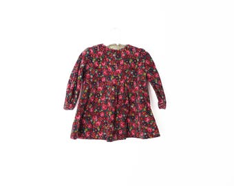 Vintage Baby Girls Floral Corduroy Dress