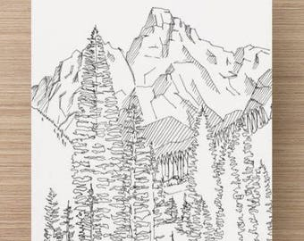 Ink sketch of Grand Teton National Park in Jackson, Wyoming - Drawing, Art, Pen and Ink, Landscape, Mountain, Print, 5x7, 8x10, Illustration