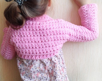 Crochet toddler bolero Pink baby toddler shrug Clothing kids Knit toddler bolero Bohemian Crochet toddler baby sweater Crochet flower bolero