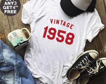 Vintage Tshirt 60th Birthday Gifts 1958 Shirt Family Gifts Funny Graphic Tumblr Birthday Gifts Shirt Men Tshirt Women Shirt Ladies Gift Idea
