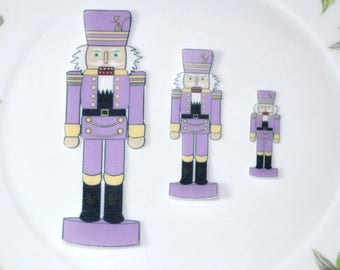 Edible Nutcracker Soldiers Purple Wafer Paper Winter Onderland Birthday Cake Decoration Nut Crackers Cupcake Cookie Topper Wedding Decor