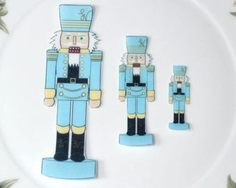 Edible Nutcracker Soldiers BLUE Figures Wafer Paper Wonderland Wedding Cake Decorations Nut Crackers Cupcake Cookie Topper
