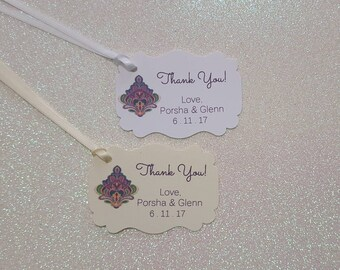 FLORAL | HINDU | MANDALA  Wedding Favor Tags | Thank You Wedding Favor Tags | Personalized