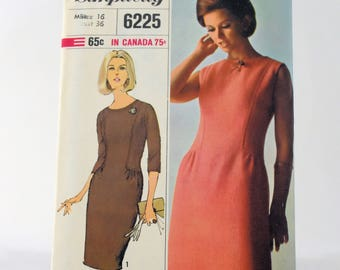 Vintage Dress Sewing Pattern 6225 Uncut Simplicity Womens Miss Size 16 Copyright 1965 Mid Century Modern Designer Fashion Classic One Piece
