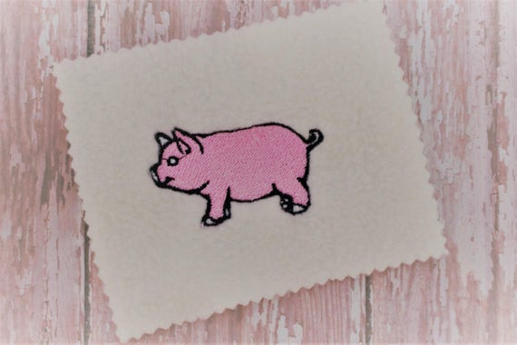 Pink Pig Machine Embroidery Design Pig Embroidery Design