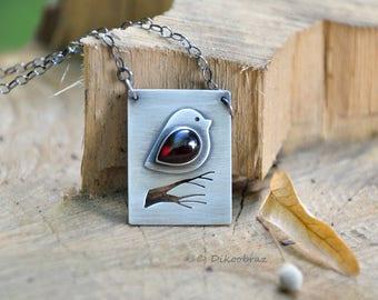 Garnet silver pendant | Garnet and silver necklace | Silver pendant | Handmade sterling silver pendant | Silver pendant jewellery