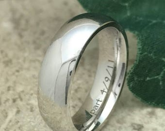 6mm Titanium Ring, Personalize Custom Engrave White Titanium Ring, Anniversary Ring, High Polish Finish, Father's Day Gift