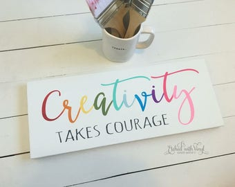 creativity takes courage wood sign - rainbow sign - painted sign - wooden sign - wall decor - craft room decor