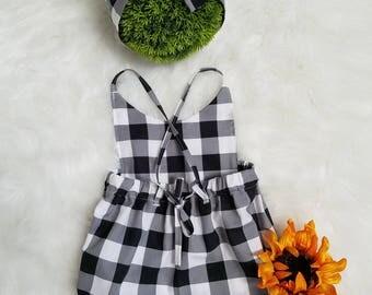 Baby girls Romper- Boho Romper-Black Buffalo Check Romper- Birthday outfit-Plaid Romper- woodland romper-baby romper & bow-Sizes NB-18-24MTH
