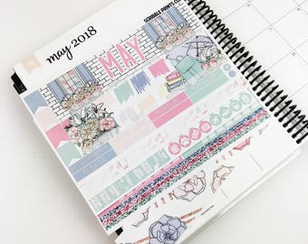 May Monthly Spread Kit - Spring Blooms (Glossy Planner Stickers)