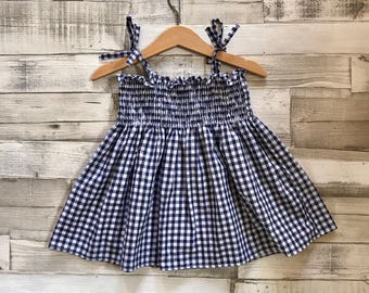 Gingham Girls Dress - Smocked Navy Dress - Baby Girls Dress - Gingham Baby Dress - Girls Sleeveless Dress - Toddler Gingham Dress