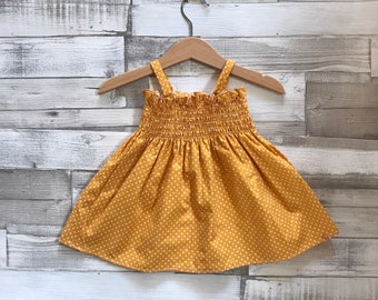 Baby Girls Clothing - Yellow Baby Dress - Mustard Yellow Dress - Polka Dot Dress - Baby Girls Dress - Smocked Dress - Toddler Clothes
