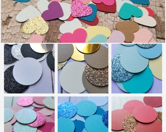 100 1-Inch 》HEART or CIRCLE《 Confetti/Table Scatter/ Wedding/Bridal & Baby Shower/Engagement/Gender Reveals/Birthday/Photoshoot/Party Decor