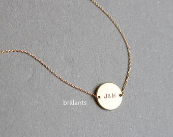 Personalized initial disk necklace, Initial coin necklace, Couple Initial, Best Friends, Wedding necklace
