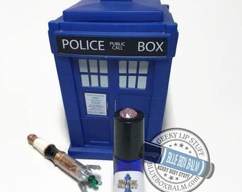 """Sonic Scent - I'M SEXY - """"Idris (Sexy TARDIS)"""" Doctor Who Inspired Body Scent- Berry Citrus Sugar Fragrance in a Blue Glass Roller Bottle"""