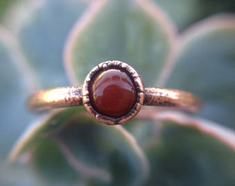 Carnelian | Carnelian Copper Ring | Red Chalcedony | Carnelian Ring | Size 7 | Ready-To-Ship