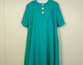 Vintage 1980s Emerald Green Baby Doll Dress With Pockets // 1X / 2X // Mod Swing Dress //  80s Valley Girl Secretary dress