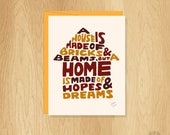 Hand Lettered Housewarming Card, Home Card, New House Card, New Home Card, Moving Card, Hopes and Dreams Card