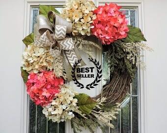 Best Selling Front Door Wreath,Etsy Wreath,Summer Wreath,Pink and Cream Hydrangea Flowers,Spring Wreath,Wreath with burlap,Front door decor