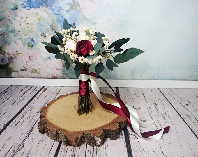 Small boho wedding bouquet dark burgundy wine ivory sola flowers preserved eucalyptus dried flowers vintage style long ribbons bridesmaid