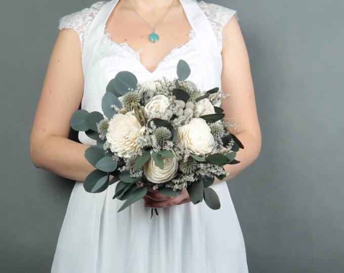 Medium natural boho bridal bridesmaid wedding bouquet blue preserved eucalyptus ivory sola flowers gray brunia echinops silver ribbon winter