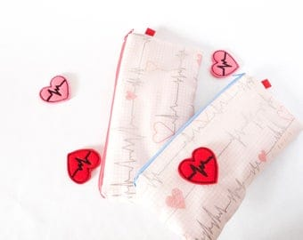 Medical ECG Pouch + Pink Chiffon. Valentine Gift. Nurse Gift. Medical Gift.RN.Doctor Gift.Physician Assistant.Respiratory Therapist.Vet Tech