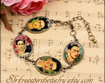 Frida Kahlo Bracelet, Frida Kahlo Cabochon Link Bracelet, Unique Jewelry, Bronze Link Bracelet, Frida Kahlo gift, photo image jewelry