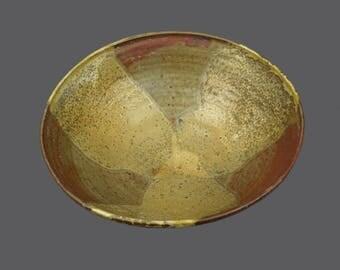 Vintage Wagona Ceramic Round Vase Brown Yellow Beige MCM Modern Art Designer Glass Stoneware