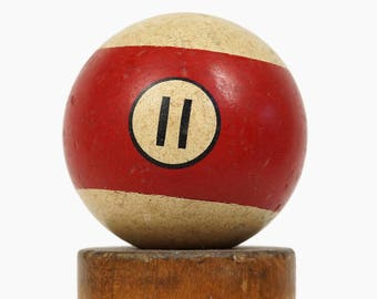 "No. 11 Pool Ball Brunswick Ivorylene Billiard Ball Size 2.25"" Stone Clay Eleven XI Stripe Stripes Striped"