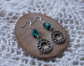Lunar Moon Phrase Turquoise Stone Earrings Silver Dangly