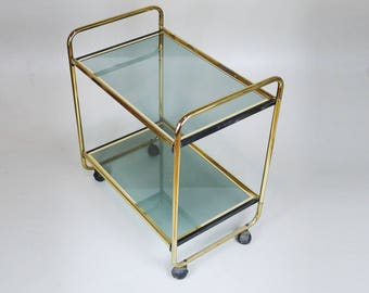 VINTAGE SIDE TABLE Golden Glass Serving Table On Wheels // Mid Century  Modern Decorative Table
