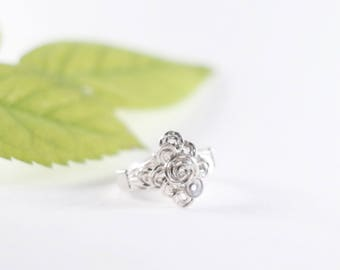 Wire Rose Ring | Floral Ring | Sterling Rose Ring | Wire Rose Band | Wire Wrapped Ring | Flower Ring | Wire Wrap Ring | Girlfriend Gift