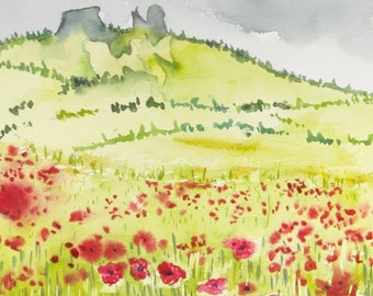 Original Watercolor Painting, Red Poppies, Rabbit Ears Pass,  Cabin Decor, Steamboat Springs Painting, Skiing, Poppy Fields, Mountains