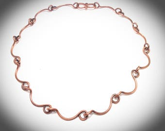 Wire wrapped jewelry, Necklace. Copper chain, Copper wire wrapped jewelry, Scalloped chain linked necklace, Wire necklace, Handcrafted