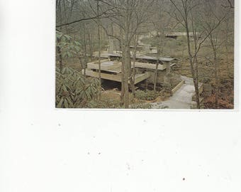 Good Birds Eye View Frank Lloyd Wright's Falling Water House Pre Renovation Vintage Postcard