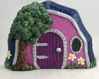 Concrete Fairy Door,Fairy Door,Fairy Garden Door,Gnome Door,Miniature Garden Door,Blue and wine colored Door,