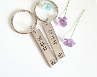 Personalized Couple Keychains, Anniversary Date, Engagement Date, Gifts for Couple, Matching Couples Keychains, Boyfriend Girlfriend Gift