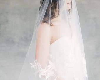 Bridal Veil, Wedding Veil, Lace Veil, Drop Veil, Floral Veil, Double Layer Veil, Fingertip Veil, Elbow Veil, Blusher Veil- Style 117 Cassidy