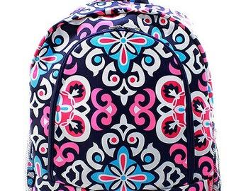 Geometric Print Monogrammed School Backpack Navy, Pink and Light Blue